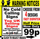 No Cold Callers Signs  / No Cold Calling Signs  - (Choice Of 4 Vinyl Designs) -