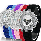 Colorful Crystal Geneva Silicone Jelly Quartz Wrist Watch For Women Girl B62U
