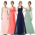 New Floral One Shoulder Long Chiffon Bridesmaid Formal Prom Evening Dress 09768