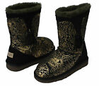 Classic Short Kids Girls Ugg Boots with 100% Australian Sheepskin Black/Gold