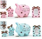 "ONE 1 BABY GIRL OR BOY ""MY FIRST PIGGY BANK, TOOTH etc. GIFT SET"""