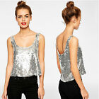 BLINGBLING WOMENS CHANGING SEQUINS CROP TOPS T-SHIRT C0183#