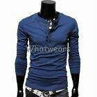 WWU Korean Stylish Mens Slim Fit Long Sleeve T Shirt Tops 6Color 4sizes J1739