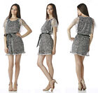 NEW VOGUE WOMENS GIRLS LAYERED CASUAL GRAY BLACK MINI PARTY DRESS S/M/L