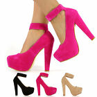 WOMENS LATEST ANKLE CUFF SUEDE BIG STRAP LADIES SHOES HEEL CONCEALED PLATFORMS