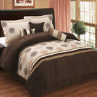 Luxury 7 Piece Microsuede Comforter Set Grace Coffee Brown Bed in a Bag