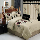 Luxury 7pc Beige Black Floral Medford Comforter Set with Pillows Bed in a Bag