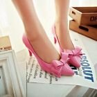Womens Patent Leather Bowknot Pointed Tow Mid Stiletto Heels Pumps Court Shoes