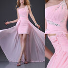 Lady's One Shoulder Chiffon Party Gown High-low Prom Ball Cocktail Evening Dress