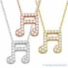 Beamed Music Note Charm Pendant Cubic Zirconia CZ .925 Sterling Silver Necklace
