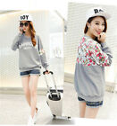 Lady Letter Printed Floral Lace Top Crewneck Sweat Shirt Batwing Sleeve Sweater