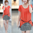 Orange Fitted Bodycon Crewneck Summer Party Day Striped Sheath Dress with Belt