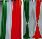 CD102-1Pair White Green Red Italy Flag Stripe Cotton Canvas Curtain(Custom made)