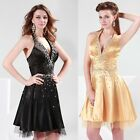 Sexy Deep V-neck Backless Halter Cocktail Evening Prom Party Dress Gown US 2~16