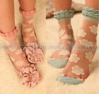 New Womens Retro Sweet Flower Lace Socks Thin Transparent Stockings A7002