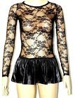NEW WOMEN LADIES BLACK FLORAL LACE LONG SLEEVE TOPS SIZE XS,S,M