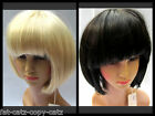 SHORT BLACK or BLONDE RAZER CUT BOB WITH FRINGE LADIES WIG HAIR PIECE UK SELLER