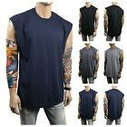Men HEAVY WEIGHT Crew neck T-Shirt Sleeveless Muscle Tank Hip Hop Gym Big & Tall image