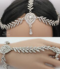 KUNDAN HAND CHAIN BRACELET JEWELLERY PANJA RING & HAIR CHAIN HEADPIECE SET