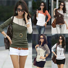 Womens Ladies Long Sleeve Crew Neck Color Block T-Shirt Tops Blouse Casual Tee