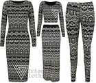 Ladies Womens Digital Aztec Print Midi Dress Maxi Skirt Crop Top Leggings