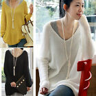 Fashion Women V-Neck Long Sleeve Oversized Batwing Knit Sweater Loose Pullover