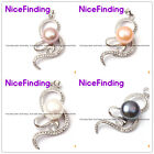 10-11mm Freshwater Pearl Gold Plated Frame Rhinestone Crystal Pendant 4 Colors