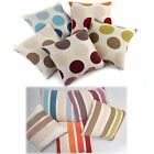 "Spots Or Stripes Cream 17"" x 17"" Cushion Covers Or Complete One Pair (2)"