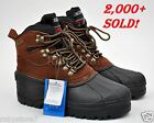 Kingshow Men's Brown Winter Snow Boots Shoes Genuine Leather Waterproof Wide