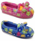 New Womens Slippers Pink Blue Textile Moccasin Style Casual Warm Comfort Casual