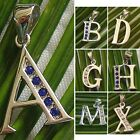 ✦✦✦SHIP FROM USA✦✦✦ 925 Sterling Silver Letter A -Z CZ Pendant CZ Cubic Zirconia