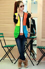 Colorblock Stripe Women Girl Knitted Thin Sweater Cardigan Tops Knitwear 2 Color