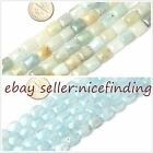 "8x10mm rectangle multi-color & blue aquamarine beads 15""DIY jewelry making"