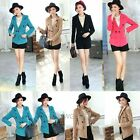 Womens Woolen Preppy Casual Lapel Jacket Suits Blazers Coat Outwear Tops 4 Color