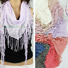 Casual Triangle Dots Cotton Yarn Long Scarf With Long Tassel Trim Shawl 8 Colors