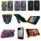 Heavy Duty Hybrid 3rd Gen Kickstand Belt Clip Case For Many Smart Cell Phones