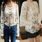Retro Floral Lace Crochet Long Sleeve Women T Shirt Waistcoat Pullover Knit Tops