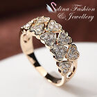 18K Yellow Gold Plated Simulated Diamonds Eternal 10 Hearts Shaped Band Ring