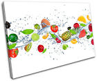 Fresh Fruits splash Food Kitchen SINGLE CANVAS WALL ART Picture Print VA