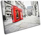 London Phonebox Red City SINGLE CANVAS WALL ART Picture Print VA