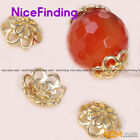20 Pcs Gold Plated Tibetan Silver Flower Spacer Cap Beads Jewelry Making Finding
