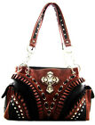 Western Cowgirl Rhinestone Cross Ruffle Detail Tote Purse Handbag Black 4Options