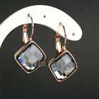 A1-E137 Fashion Solitaire Dangle Earrings Lever Back 18KGP use Swarovski Crystal