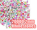 20000pcs LARGE AMOUNT! 2mm RHINESTONES GEMS CRYSTALS 12 COLOURS TO CHOOSE FROM!