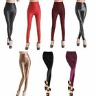 Womens Skinny Stretch Faux Leather Velvet Like High Waist Leggings Tight Pant
