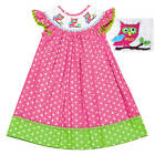 Dana Kids Pink Dots Owl Smocked Bishop Dress 12M-6 Years NWT