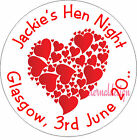 PERSONALISED HEN NIGHT RED HEART ENVELOPE SEALS STICKERS GIFTS FAVOURS HNCS5