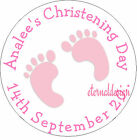 PERSONALISED CHRISTENING DAY PINK FEET STICKER SEAL GIFT FAVOUR INVITE CDCS11