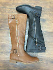 Women Knee-High Riding Boots with Zipper Black Brown Color NEW