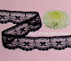 """14/28 Yards Black 1"""" Scalloped Bows Lace Trim H20BV Added Items Ship FREE"""